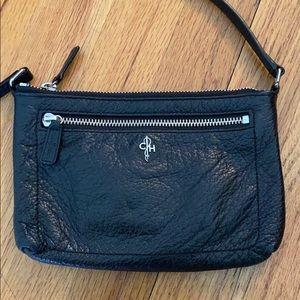 Cole Haan mini, black leather, crossbody bag.